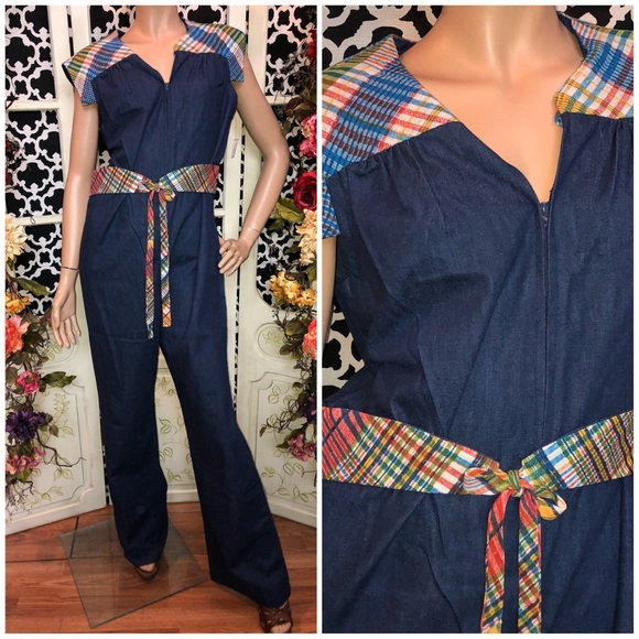 9e2a79815979 70s NEW denim bell bottom jumpsuit romper hippie